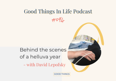 A hand with dextrose holding someones leg wearing black pants podcast episode 124 thumbnail with goodthingsinlife logo at the bottom